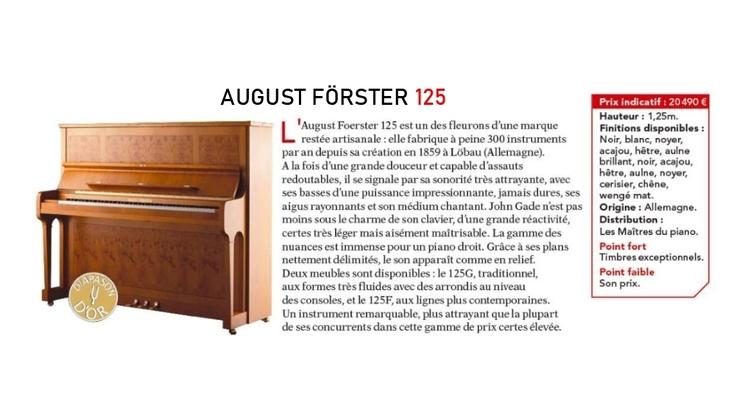 Diapason d'or pour le Förster 125